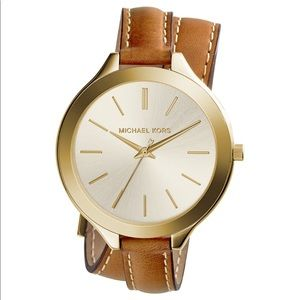 Michael Kors Brown & Gold Leather Wrap Watch